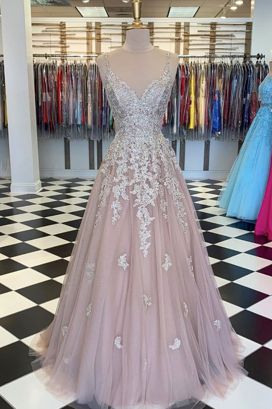 Unique tulle lace long prom dress lace tulle evening dress