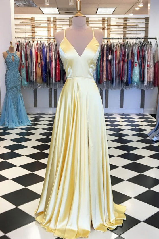 Simple yellow satin long prom dress, yellow evening dress