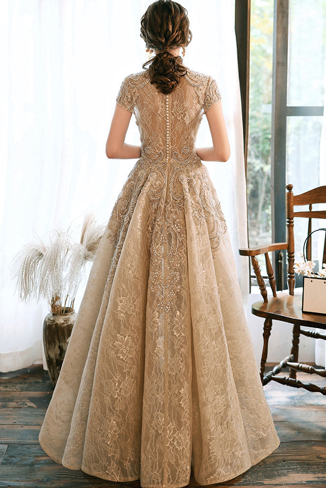 Light champagne lace satin prom dress champagne evening dress