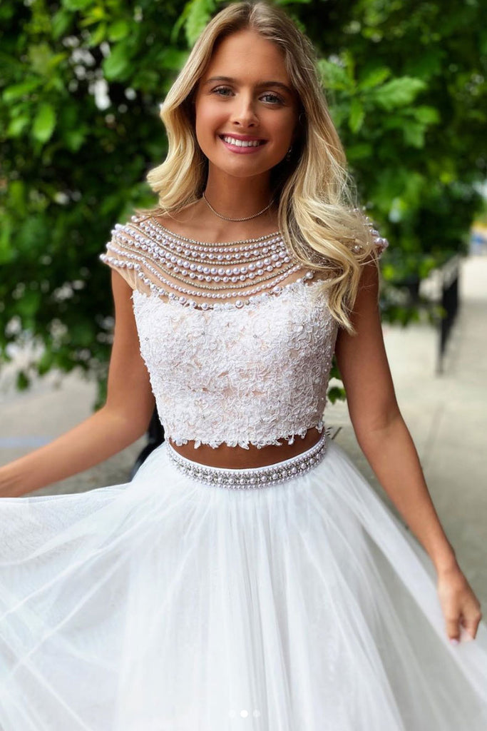White round neck tulle lace two pieces long prom dress white formal dress