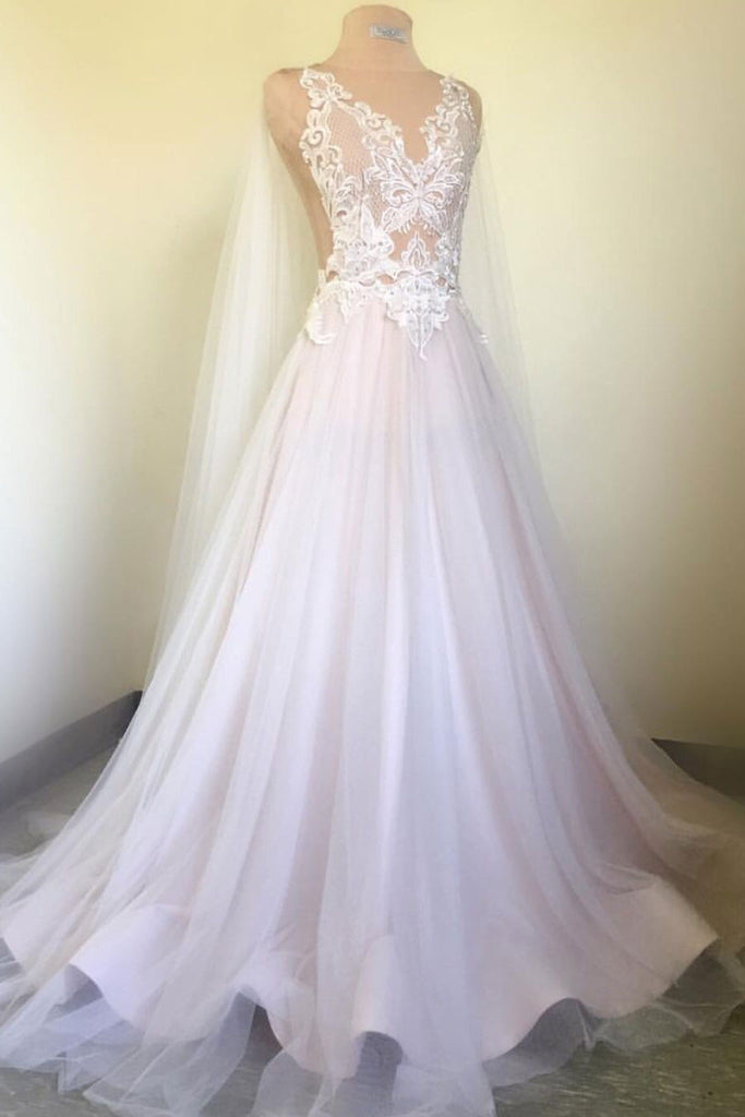 White v neck lace applique long prom dress, white wedding dress