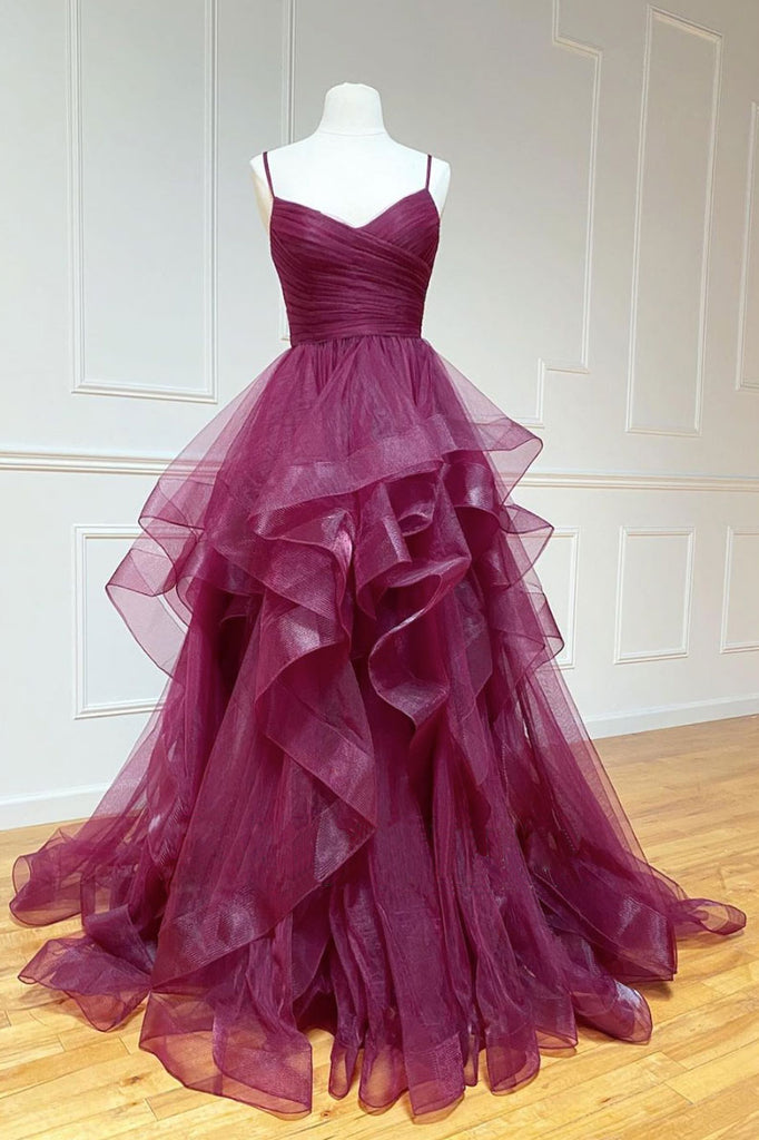 Simple sweetheart tulle long prom gown, tulle formal dress