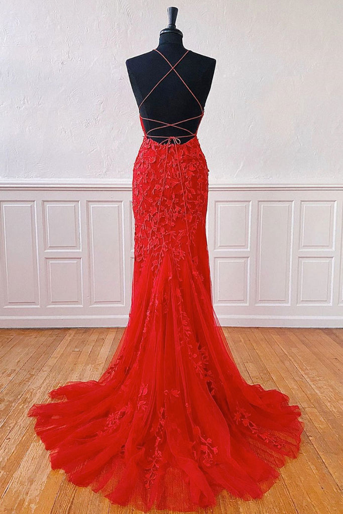 Red lace mermaid long prom dress lace mermaid evening dress