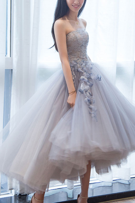 Gray sweetheart tulle lace short prom gown, gray lace cocktail dress