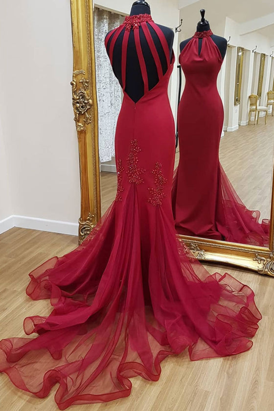 Unique high neck lace mermaid long prom dress, evening dress