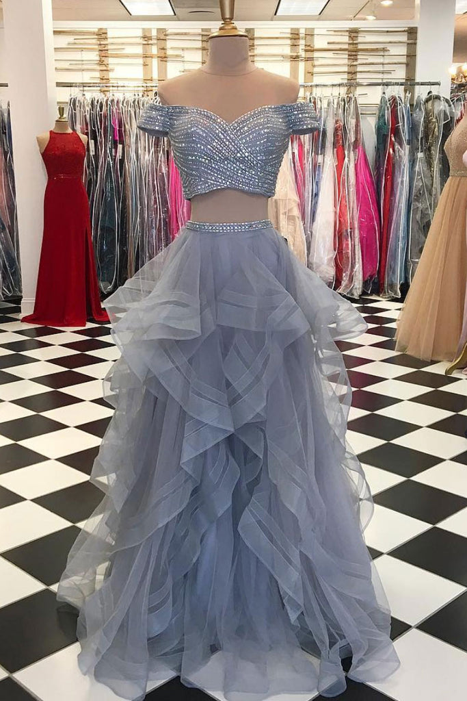 Gray two pieces tulle sequin long prom dress, gray evening dress