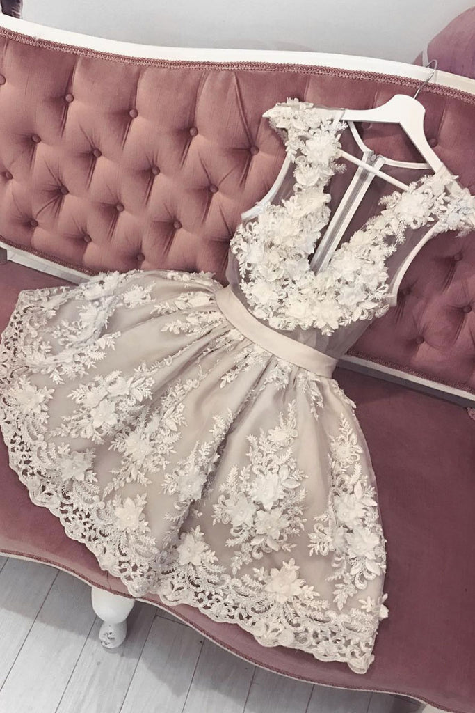 Cute v neck tulle lace short prom dress, lace homecoming dress