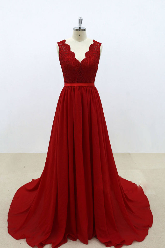 Burgundy v neck lace chiffon long prom dress, burgundy bridesmaid dress