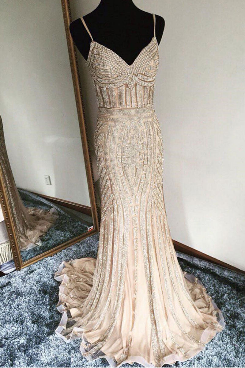 fcfd876f8bf9 Unique champagne mermaid long prom dress, evening dress - dresstby