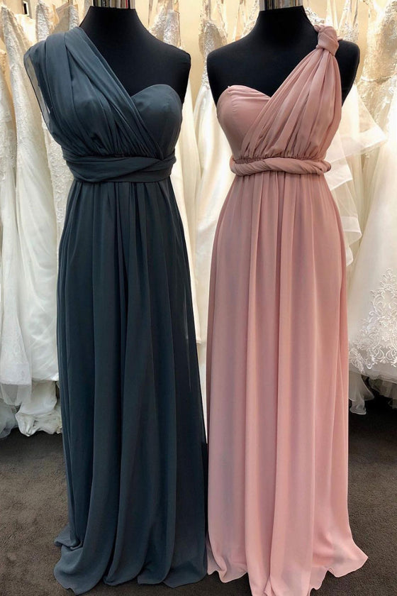Simple one shoulder chiffon long prom dress, bridesmaid dress