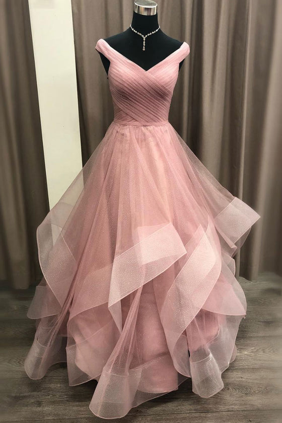 Pink off shoulder tulle long prom dress, pink tulle evening dress