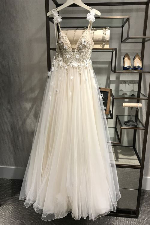 Unique v neck tulle light champagne long prom dress, evening dress