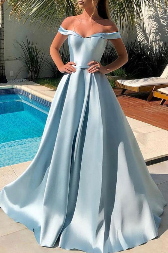 Simple blue off shoulder satin long prom dress blue evening dress