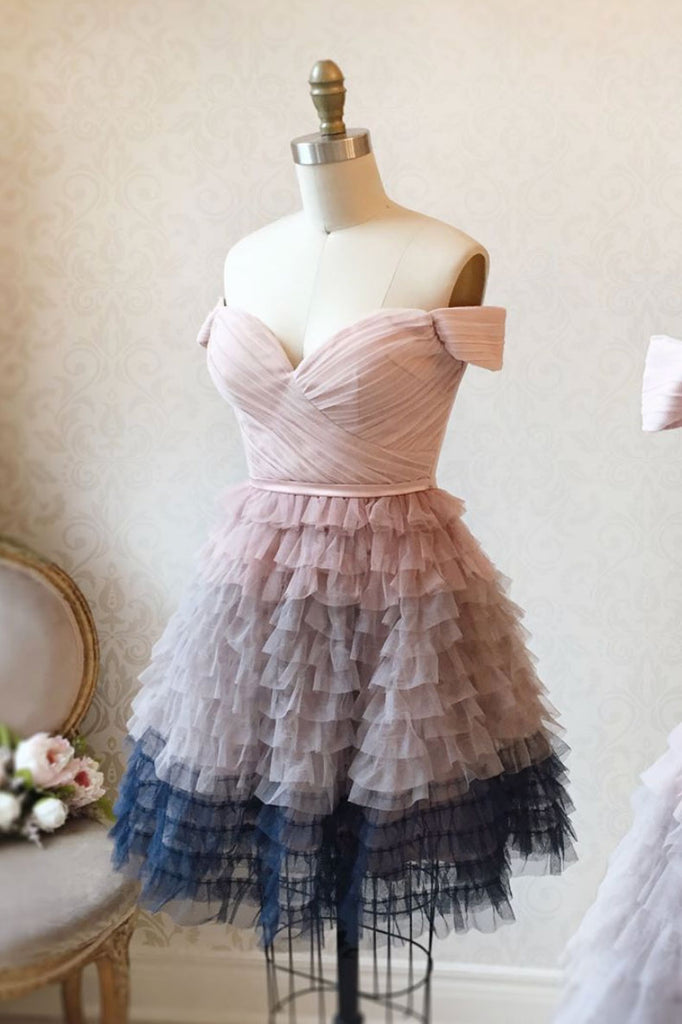Pink sweetheart tulle short prom dress pink tulle formal dress