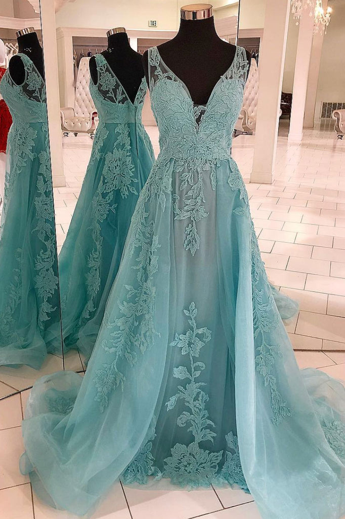Green v neck tulle lace long prom dress, green tulle evening dress