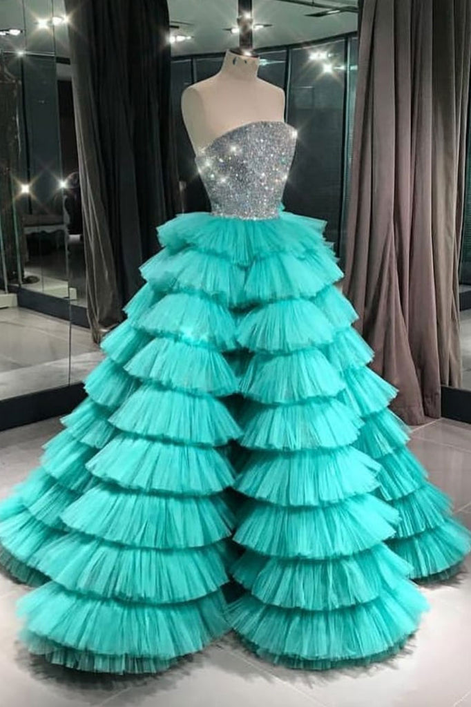 Green sweetheart tulle long prom dress, green evening dress