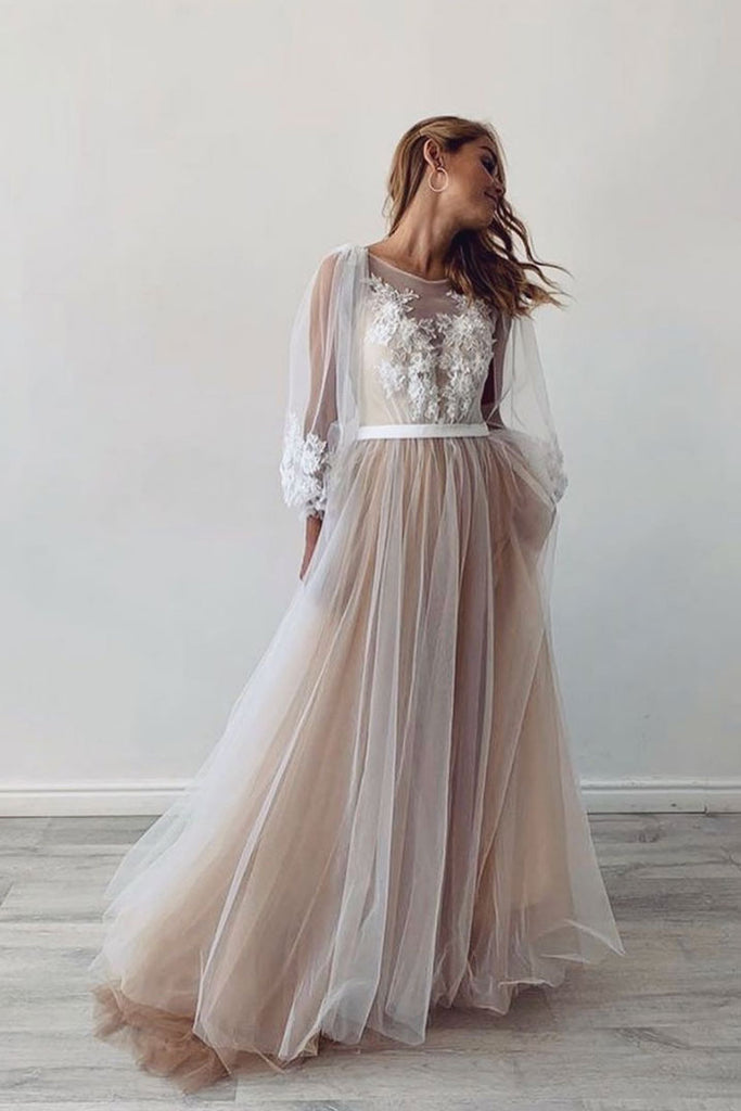 Champagne tulle lace long prom dress lace evening dress