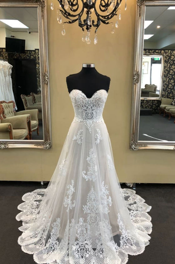 White sweetheart neck tulle lace long wedding dress, lace prom dress