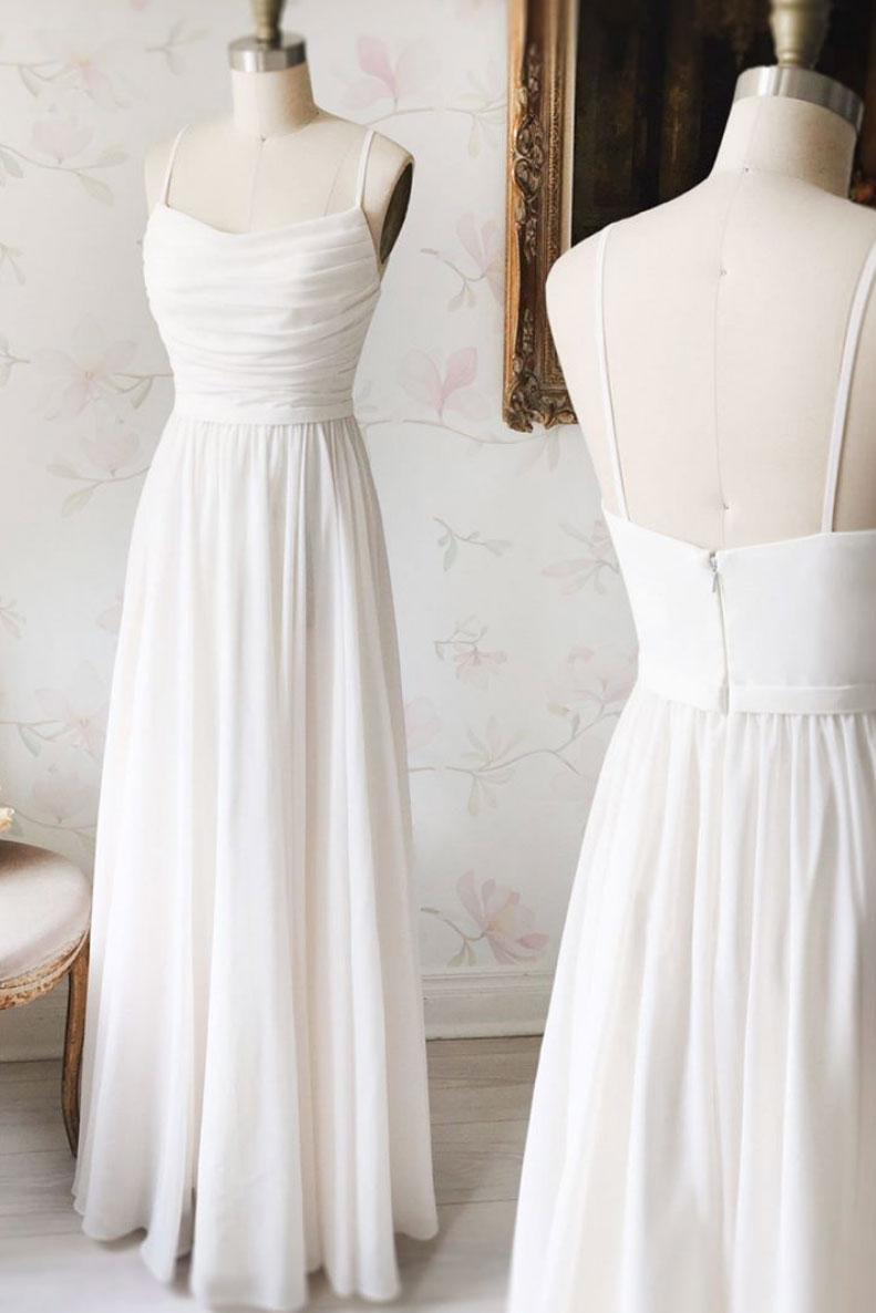 Simple white chiffon long prom dress, white evening dress - dresstby