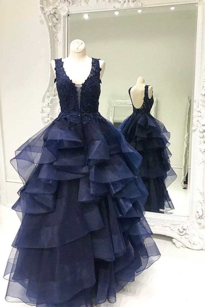 Unique dark blue tulle lace prom dress, dark blue evening dress