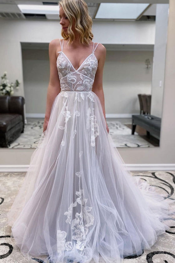 Gray v neck tulle lace long prom dress gray tulle evening dress