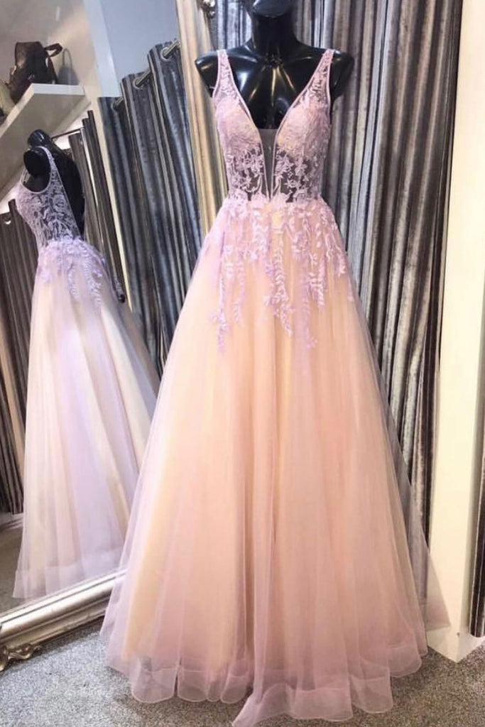Pink v neck tulle lace long prom dress, pink lace evening dress