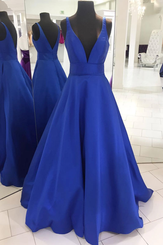 Simple blue v neck long prom dress, blue evening dress
