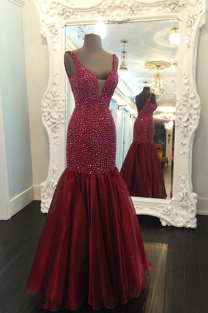 Burgundy sweetheart beads mermaid long prom dress, burgundy evening dress