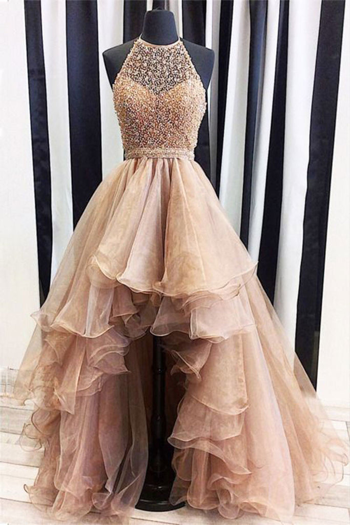 Champagne tulle beads high low prom dress, champagne evening dress