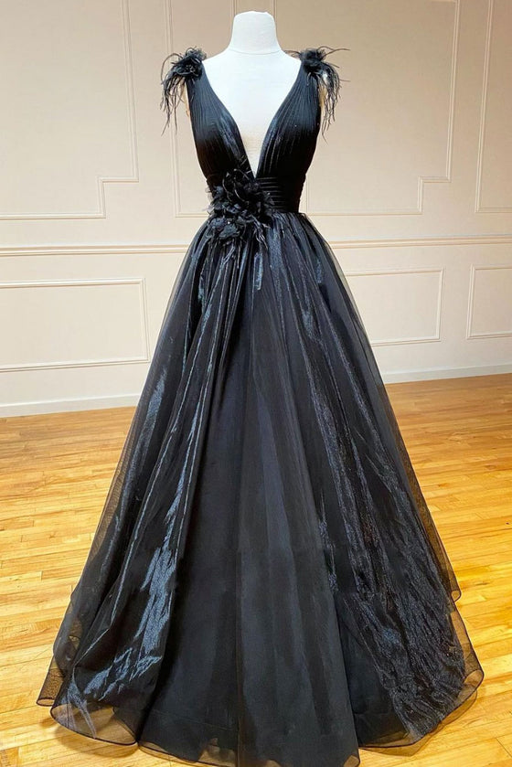 Black v neck tulle lace long prom dress black tulle formal dress