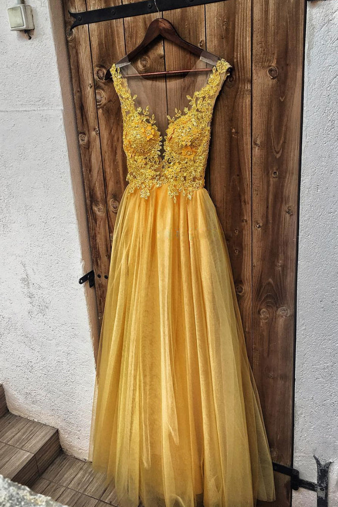Yellow lace tulle long prom dress, yellow evening dress