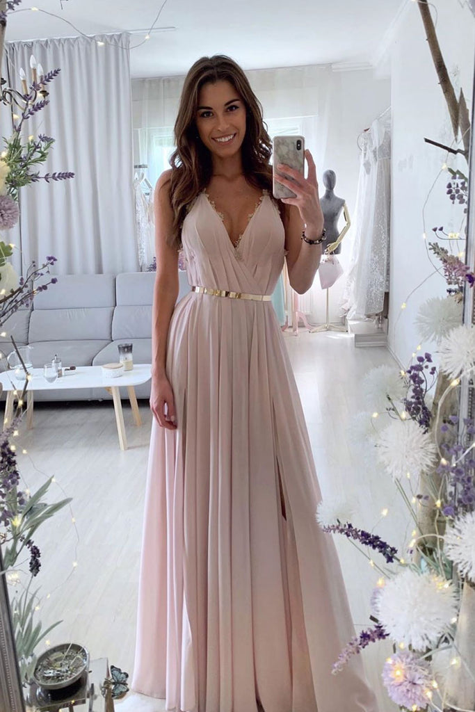 Pink v neck chiffon long prom dress pink long evening dress
