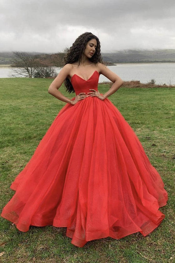 Red sweetheart tulle long prom dress red formal dress
