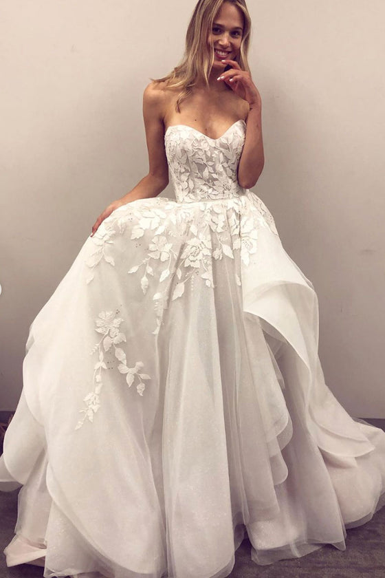 White sweetheart tulle lace long prom dress white formal dress