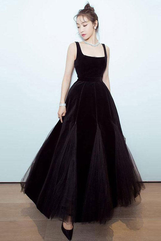 Simple black tulle long prom dress black evening dress