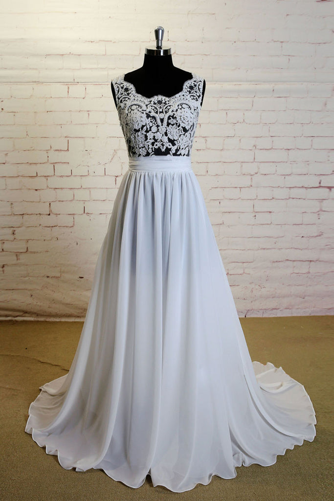 White A-line lace chiffon long prom dress, lace wedding dress
