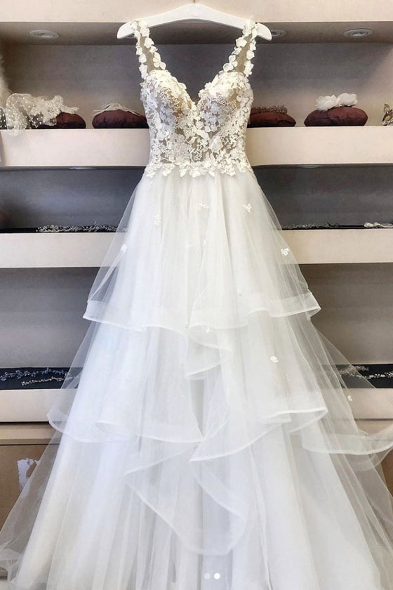 White v neck tulle lace long prom dress white lace evening dress