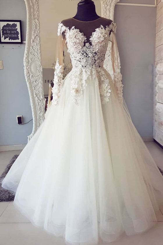 White round neck tulle lace long prom dress, white tulle long wedding dress