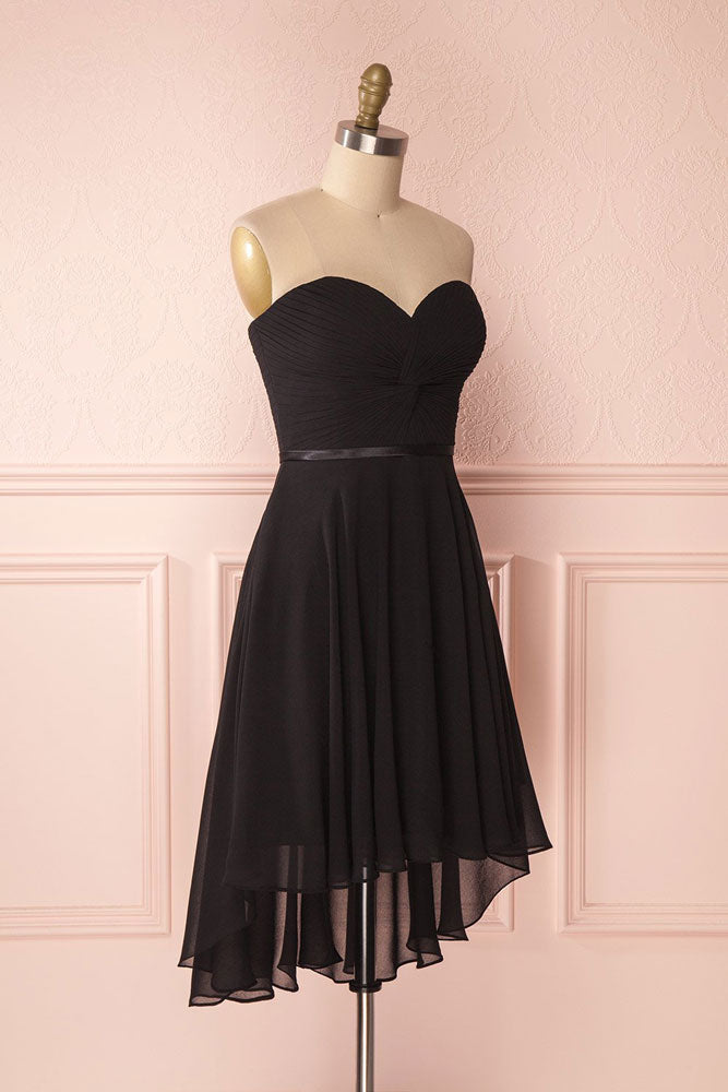 Simple sweetheart neck chiffon short prom dress, black homecoming dress