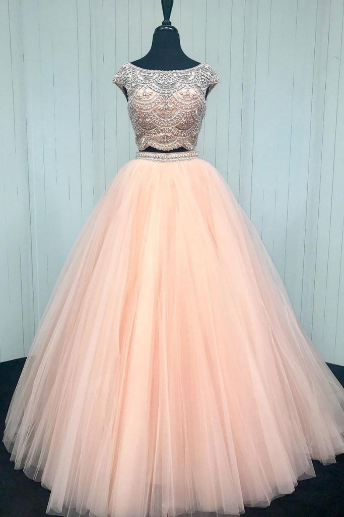 Pink beads two pieces tulle long prom dress, pink formal dress