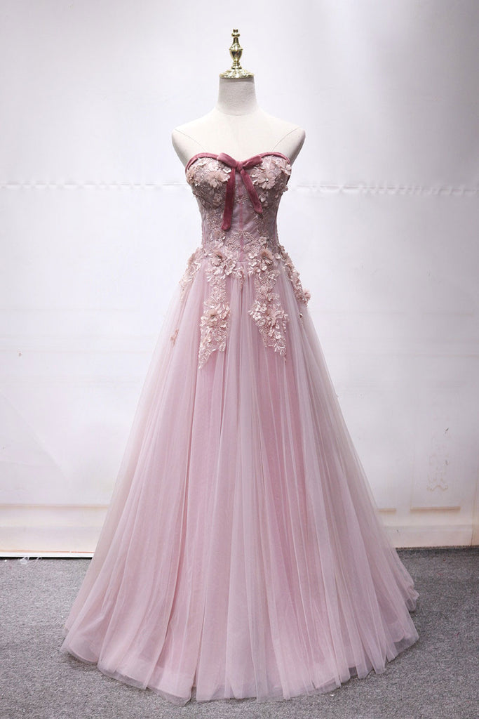 Pink sweetheart tulle lace long prom dress, pink lace evening dress