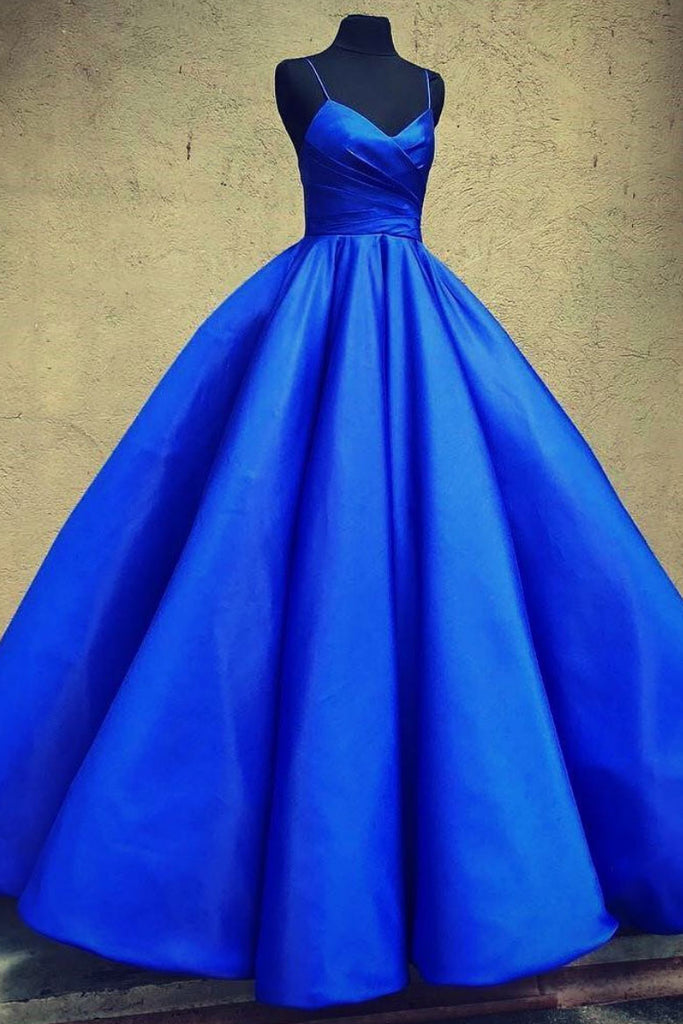 Blue sweetheart satin long prom dress, blue formal dress
