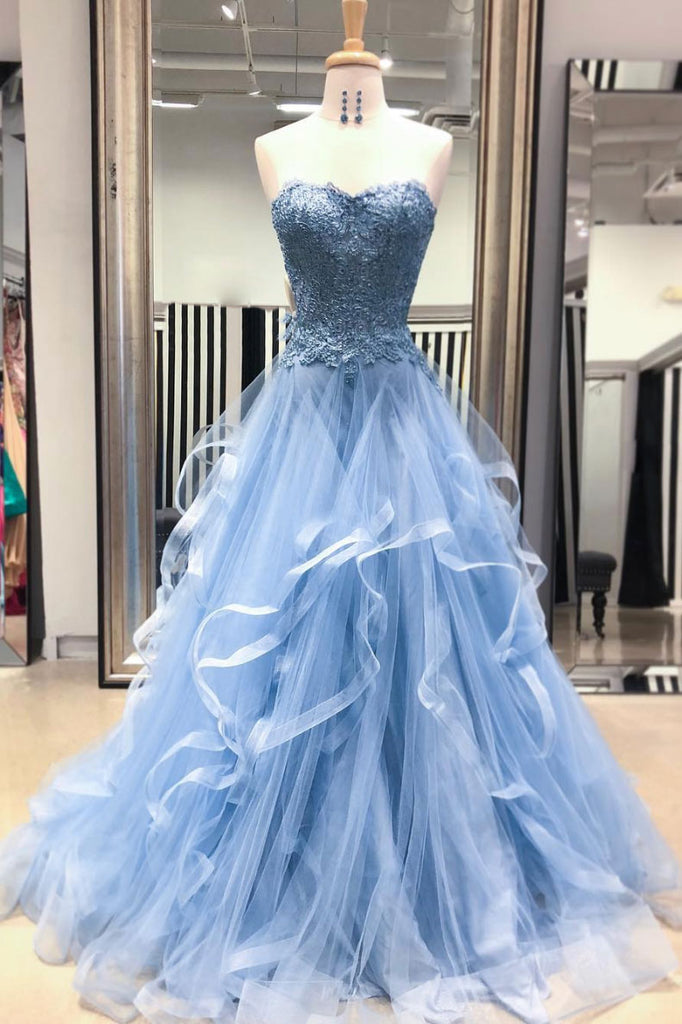 Blue sweetheart neck tulle lace long prom dress, blue lace evening dress