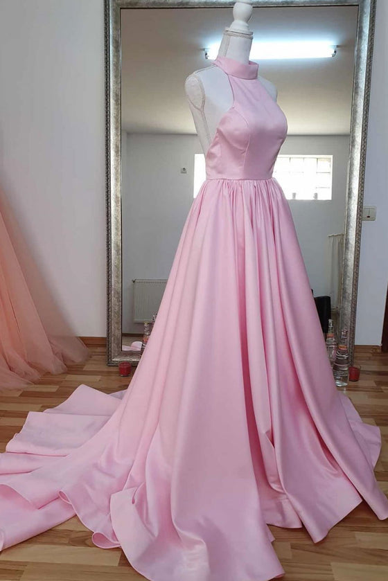 Pink high neck pink satin long prom dress pink evening dress