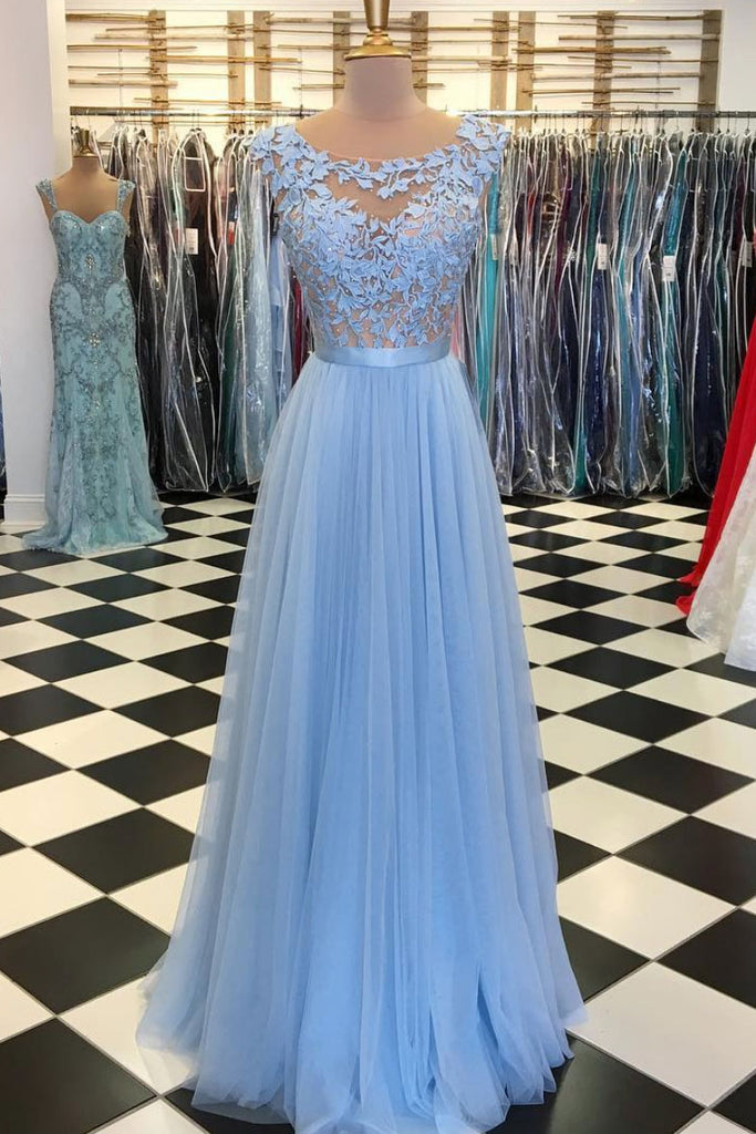 Blue round neck tulle lace applique long prom dress, blue tulle bridesmaid dress