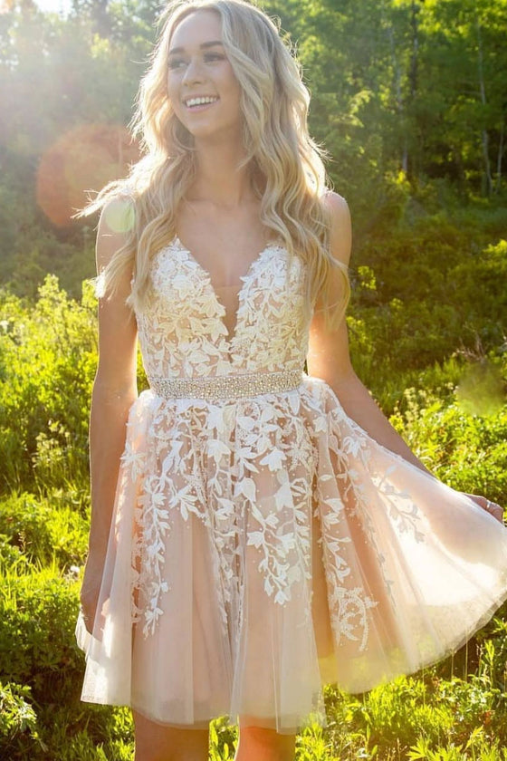 Cute champagne v neck lace short prom dress, cute homecoming dress