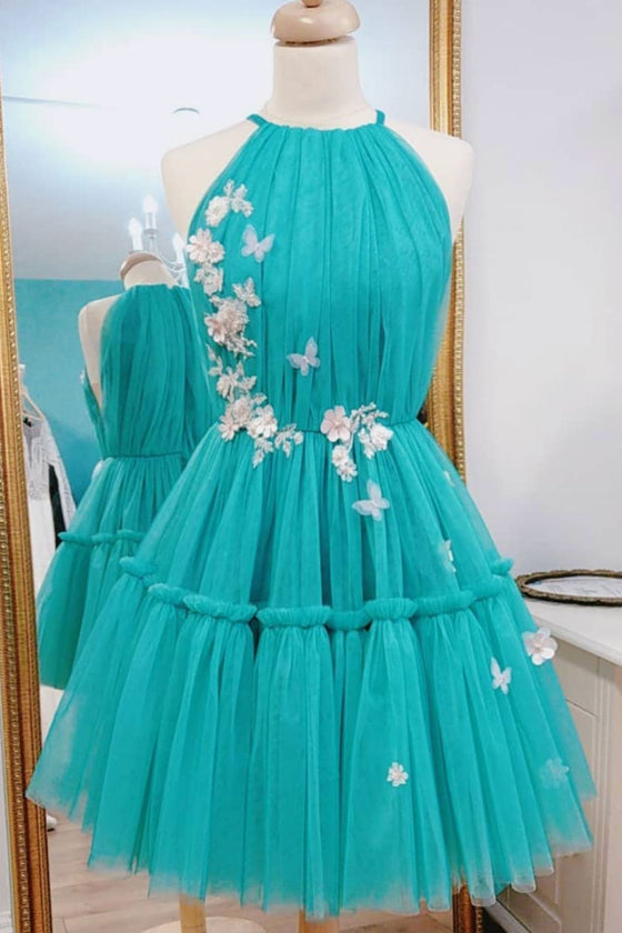 Green tulle short prom dress, green tulle homecoming dress