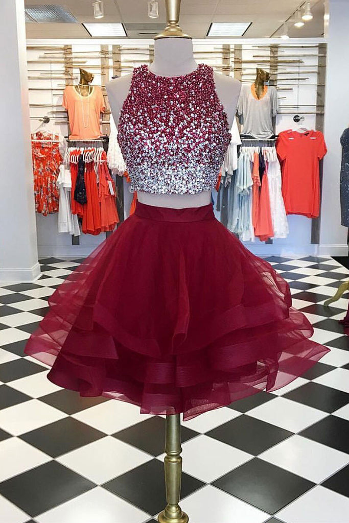 Burgundy two pieces tulle sequin short prom dress, homecoming dress