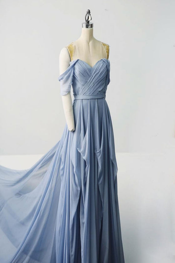 Simple chiffon gray blue long prom dress, gray blue evening dress