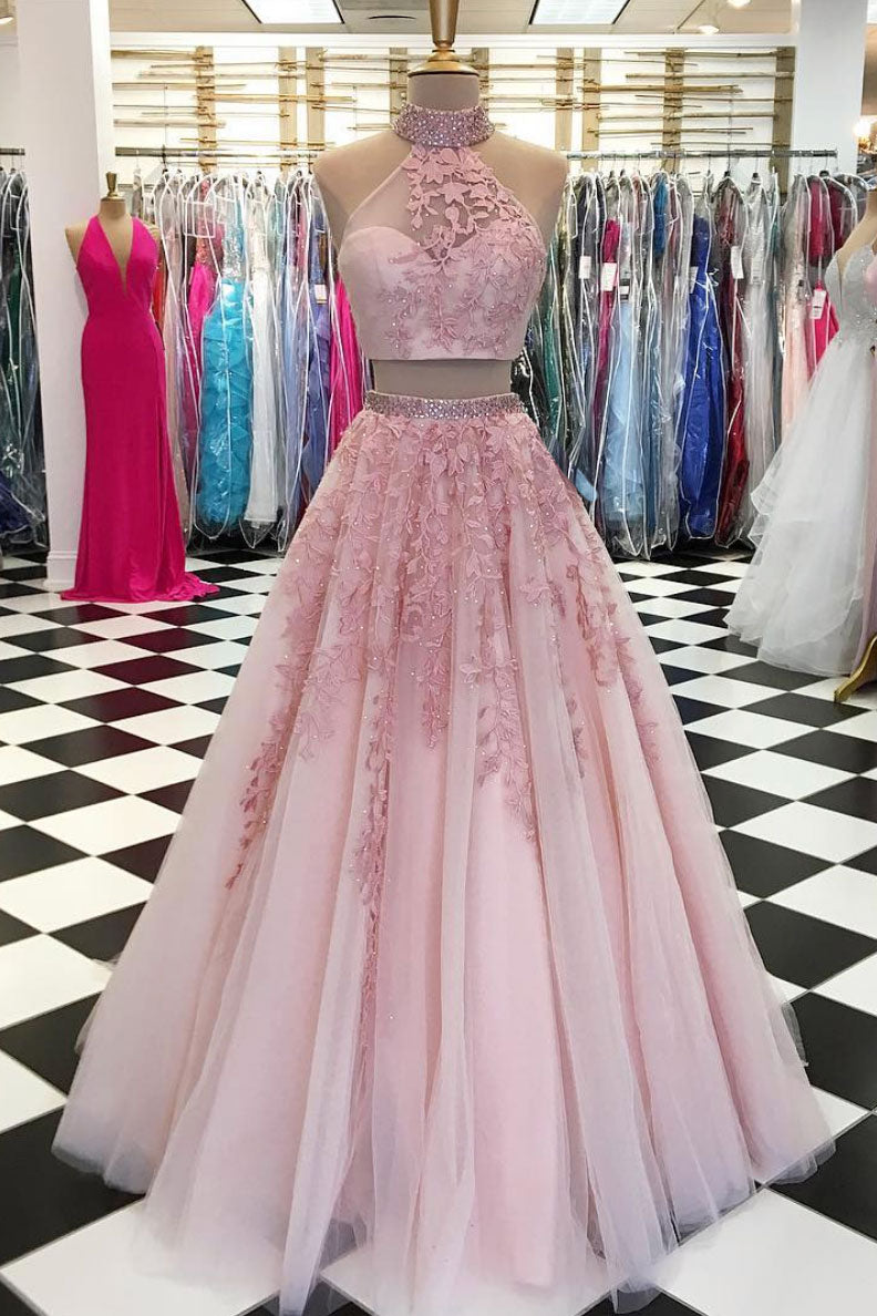 Pink two pieces tulle lace applique long prom dress, pink evening dress